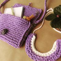 вязанные ожерелья, сумка из пряжи лента, украшения вязанные крючком, ленточная пряжа