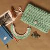 сумка из толстой пряжи, сумка из пряжи лента, ленточная пряжа лента